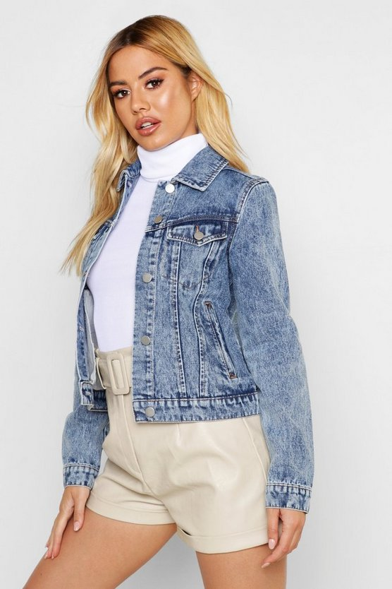 Petite Soft Acid Wash Denim Jacket