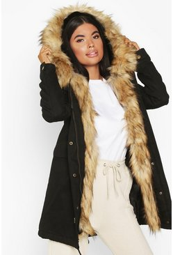 Womens Black Petite Faux Fur Trim Parka
