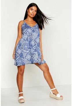 Womens Blue Petite Paisley Print Swing Dress