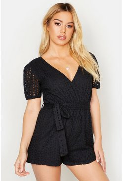 Womens Black Petite Broderie Playsuit