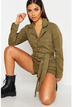Womens Khaki Petite Utility Button Front Belted Playsuit