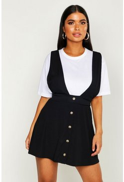 Womens Black Petite Ribbed Button Through Pinafore Dress
