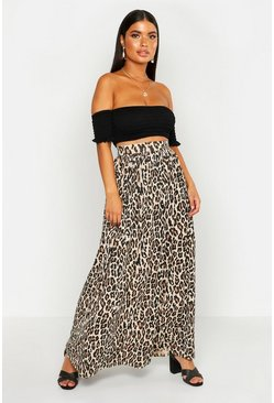 Womens Tan Petite Floor Sweeping Animal Print Maxi Skirt