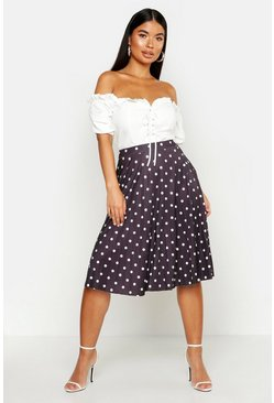 Womens Black Petite Slinky Polka Dot Midi Skirt