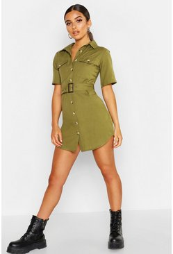 Khaki Petite Linen Look Utility Belted Dress