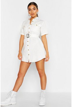Womens White Petite Linen Look Utility Belted Dress