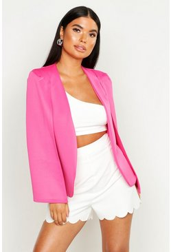 Womens Hot pink Petite Cape Detail Blazer