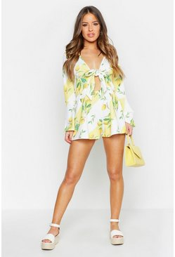 Womens White Petite Lemon Print Flare Sleeve Playsuit