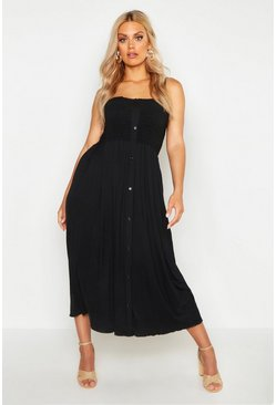 Womens Black Plus Button Detail Sheered Midi Dress