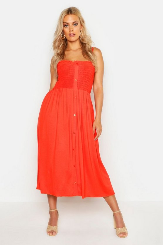 Orange Plus Button Detail Sheered Midi Dress