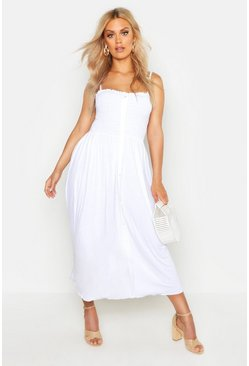 Womens White Plus Button Detail Sheered Midi Dress