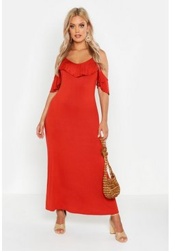 Womens Chestnut Plus Ruffle Detail Cold Shoulder Maxi Dress