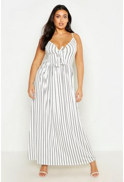 Womens Black Plus STripe Strappy Knot Front Maxi Dress