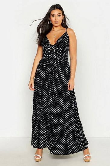 Black Plus Polka Dot Strappy Knot Front Maxi Dress