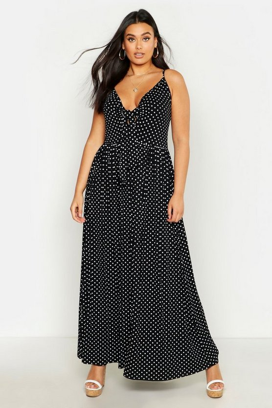 Womens Black Plus Polka Dot Strappy Knot Front Maxi Dress