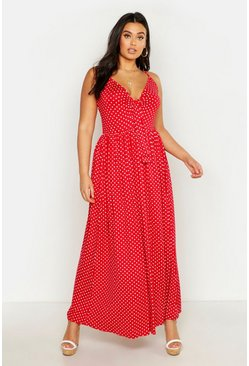 Womens Red Plus Polka Dot Strappy Knot Front Maxi Dress