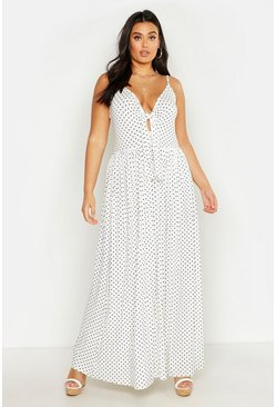 Womens White Plus Polka Dot Strappy Knot Front Maxi Dress
