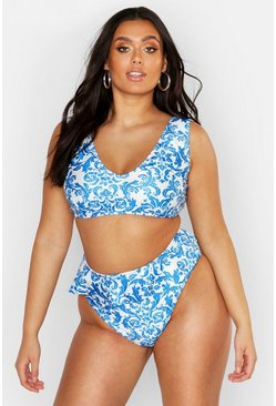 Womens Blue Plus Baraque Frill High Waist Bikini