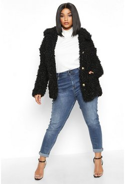 Womens Black Plus Teddy Faux Fur Pea Coat