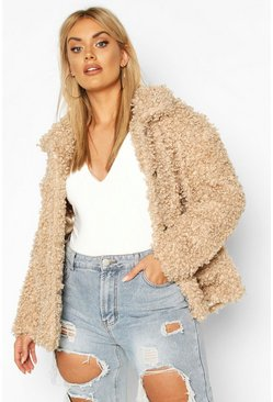 Womens Caramel Plus Teddy Faux Fur Pea Coat