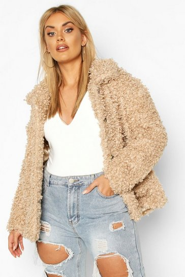 Caramel Plus Teddy Faux Fur Pea Coat