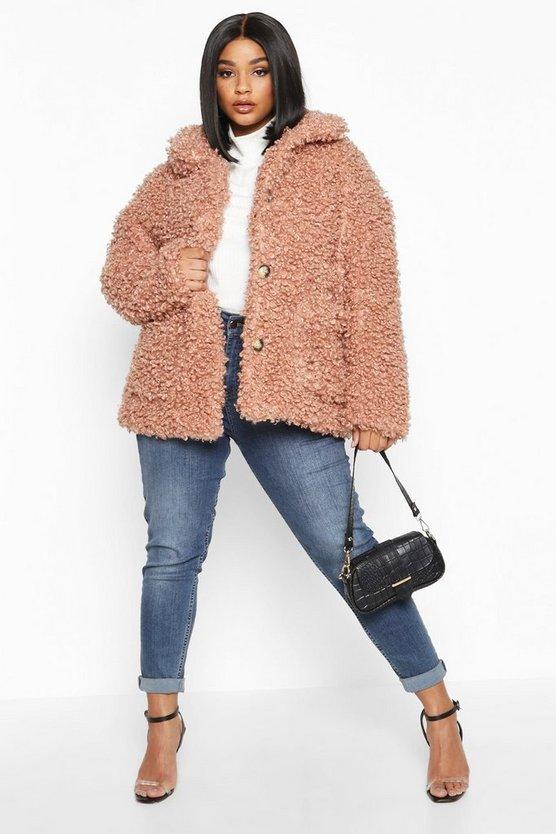 Plus Teddy Faux Fur Pea Coat