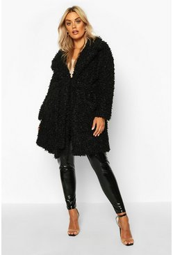 Womens Black Plus Teddy Faux Fur Belted Coat