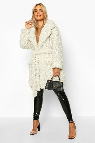 Cream Plus Teddy Faux Fur Belted Coat