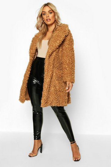 Womens Toffee Plus Teddy Faux Fur Belted Coat