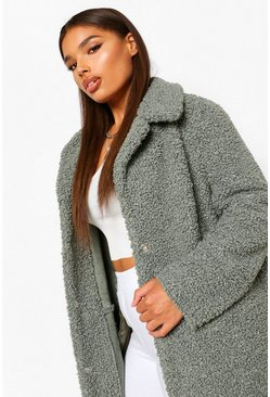 Womens Sage Plus Teddy Faux Fur Longline Coat