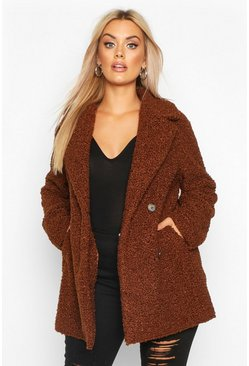 Womens Chocolate Plus Teddy Faux Fur Double Breasted Coat