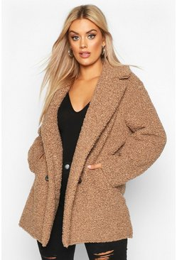 Womens Stone Plus Teddy Faux Fur Double Breasted Coat