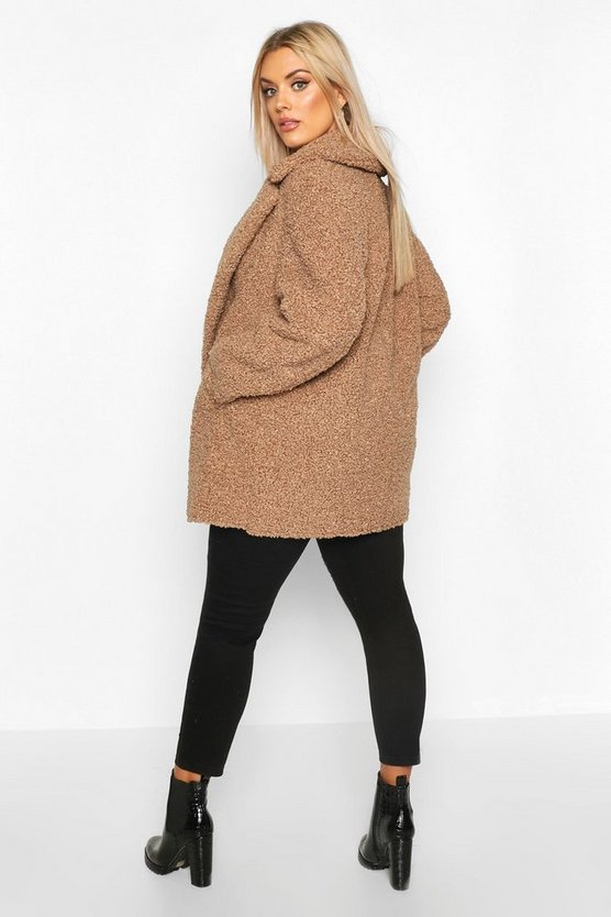 Plus Teddy Faux Fur Double Breasted Coat