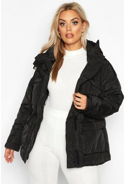 Womens Black Plus Hooded Drawcord Waist Padded Parka