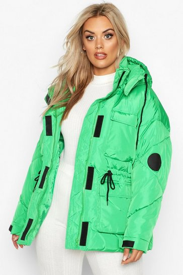 Womens Green Plus Hooded Drawcord Waist Padded Parka