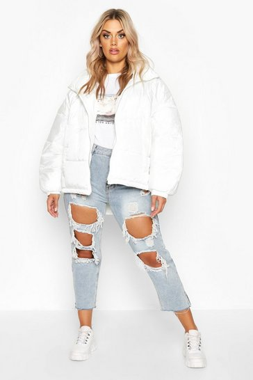 Womens White Plus Hooded Funnel Neck Puffer Jacket