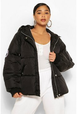 Womens Black Plus Badge Detail Hooded Puffer Jacket