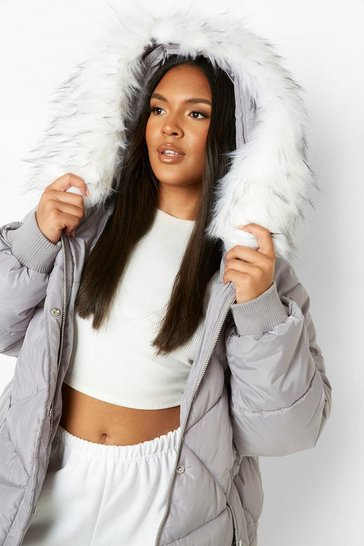 Womens Grey Plus Faux Fur Hooded Mid Length Puffer Coat