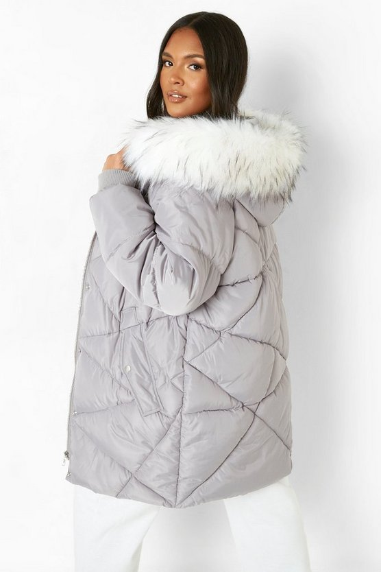 Plus Faux Fur Hooded Mid Length Puffer Coat