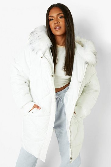 Womens Off white Plus Faux Fur Hooded Mid Length Puffer Coat