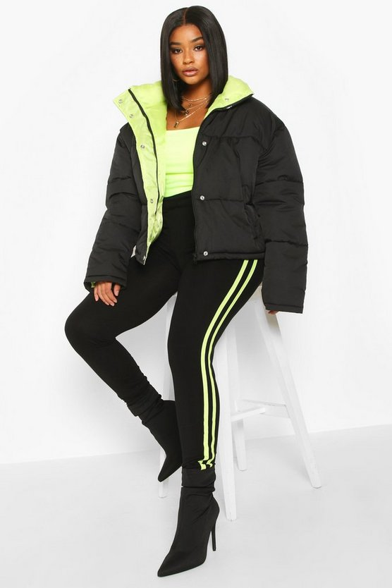 Black Plus Neon Lined Cropped Puffer Jacket