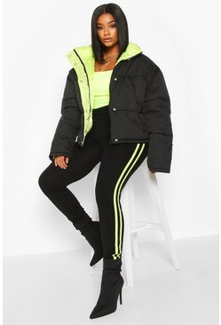 Womens Black Plus Neon Lined Cropped Puffer Jacket
