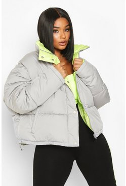 Womens Grey Plus Neon Lined Cropped Puffer Jacket