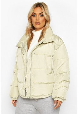 Sage Plus Funnel Neck Cropped Puffer Jacket