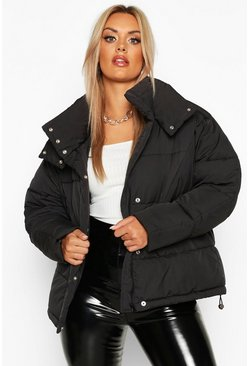 Womens Black Plus Funnel Neck Puffer Jacket