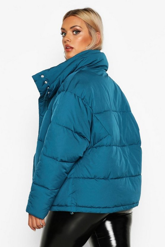 Plus Funnel Neck Puffer Jacket