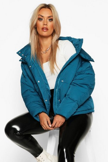 Womens Petrol Plus Funnel Neck Puffer Jacket