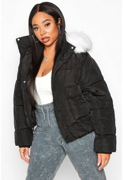 Womens Black Plus Faux Fur Hooded Puffer Parka Jacket