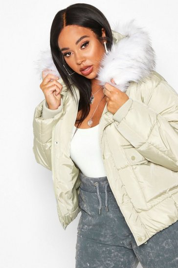 Womens Sage Plus Faux Fur Hooded Puffer Parka Jacket