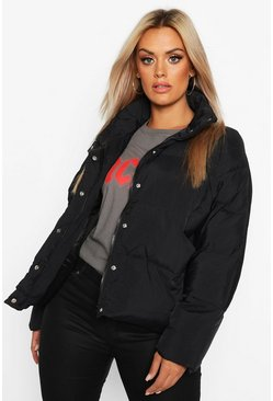 Womens Black Plus Funnel Neck Cropped Puffer Jacket